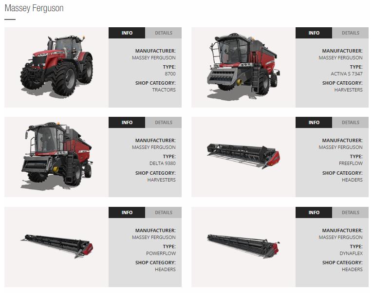 machine equipment list