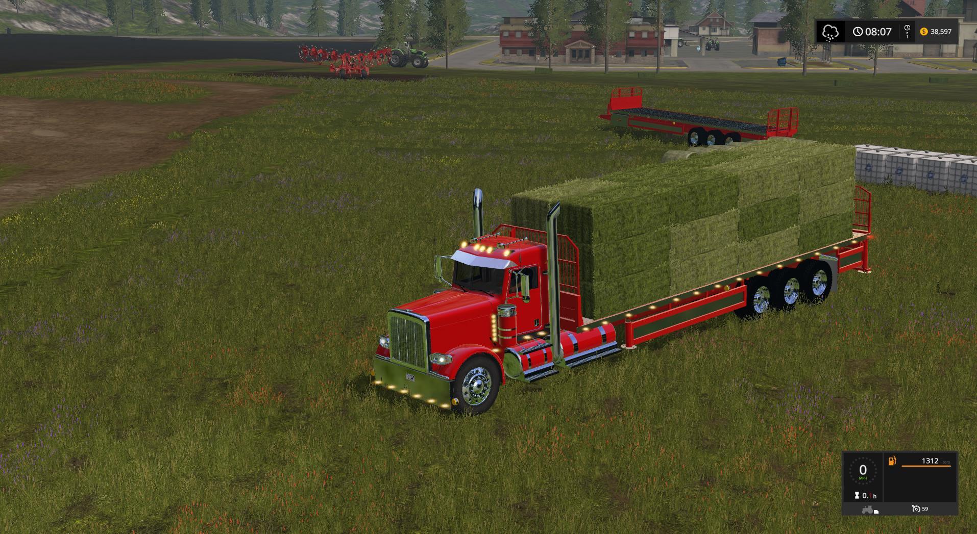 Peterbilt 388 Flatbed Custom Daycab V1 Fs17 Farming