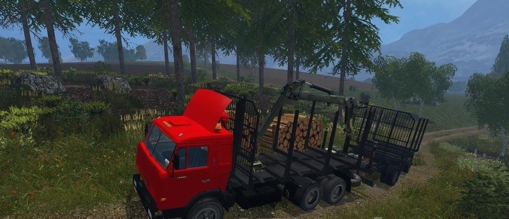 Forestry KAMAZ-54115 Forest & Trailer FS17 - Farming Simulator 17