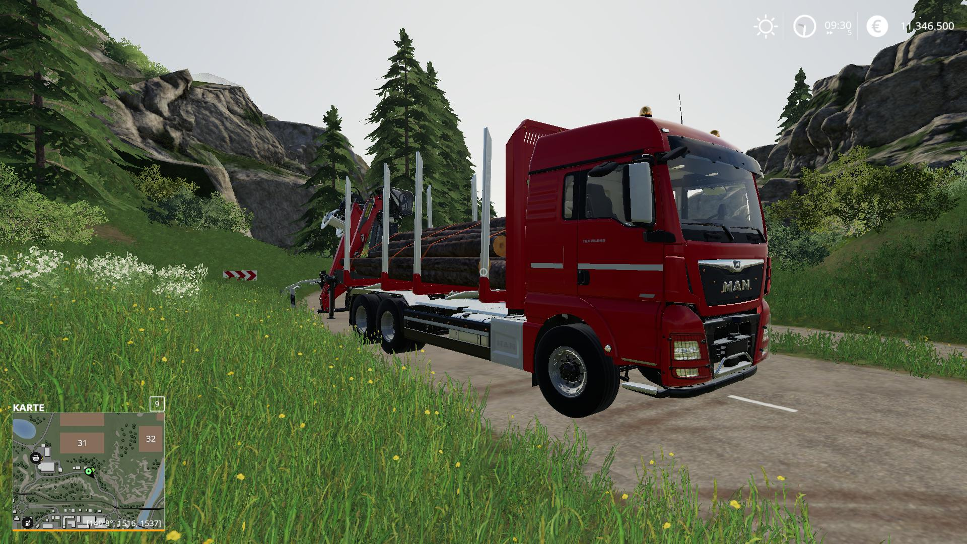 FS19 MAN Forst LKW with Autoload Wood v2 0 - Farming