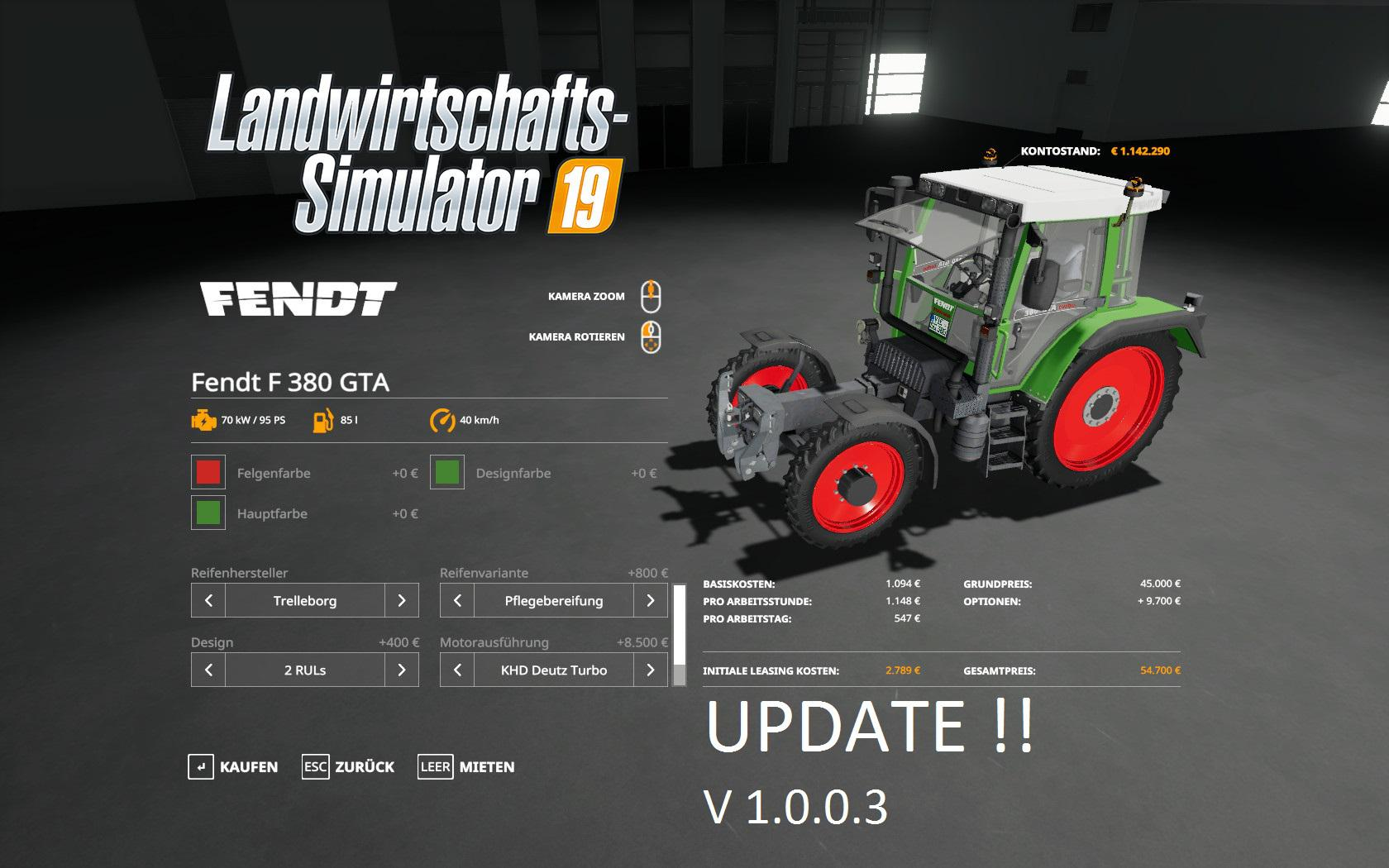 FS19 Fendt F 380GTA v1 0 0 3 - Farming Simulator 17 mod / FS