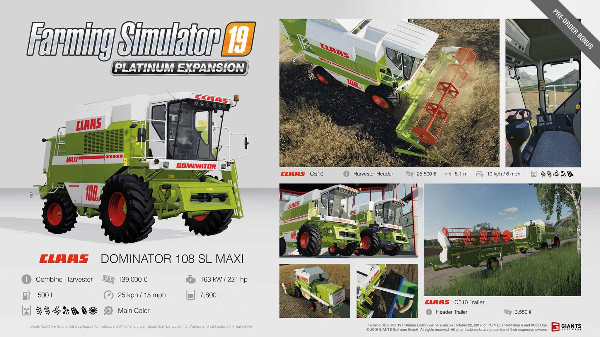 FS19 Farming Simulator 19 Platinum fact sheet #1 - Farming